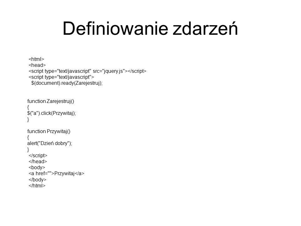 Definiowanie zdarzeń <html> <head>