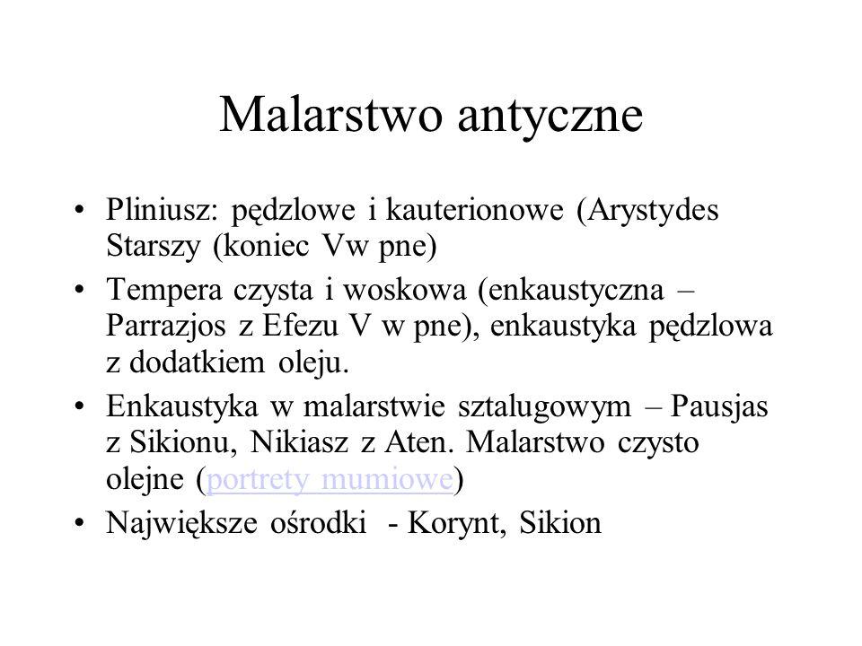 Malarstwo antyczne Pliniusz: pędzlowe i kauterionowe (Arystydes Starszy (koniec Vw pne)