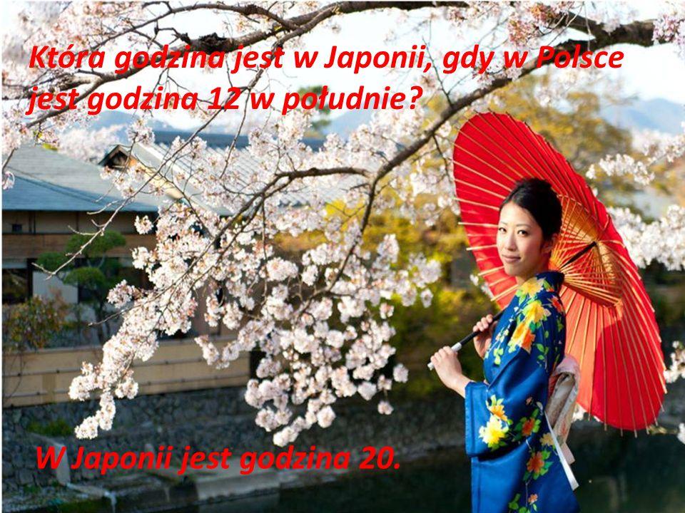 Która godzina jest w Japonii, gdy w Polsce jest godzina 12 w południe