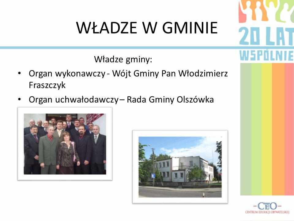 WŁADZE W GMINIE Władze gminy: