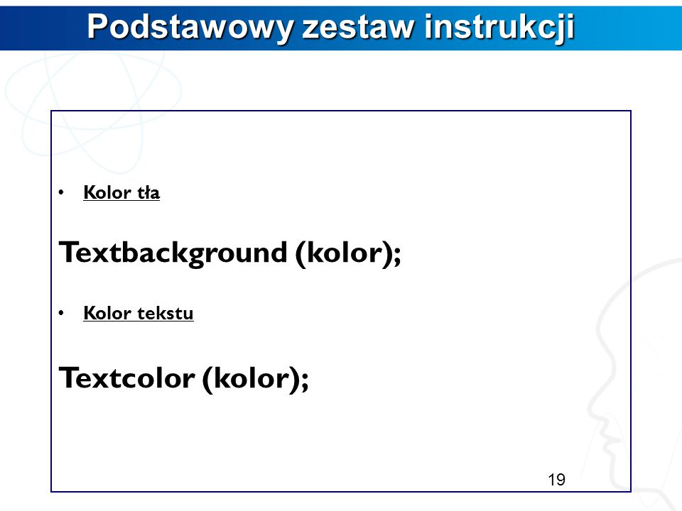 Podstawowy zestaw instrukcji