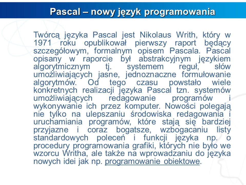 Pascal – nowy język programowania