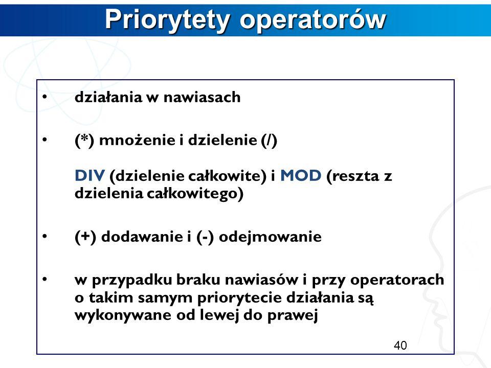 Priorytety operatorów
