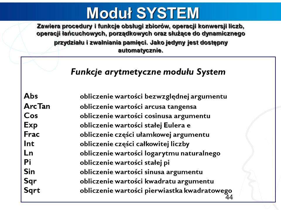 Funkcje arytmetyczne modułu System