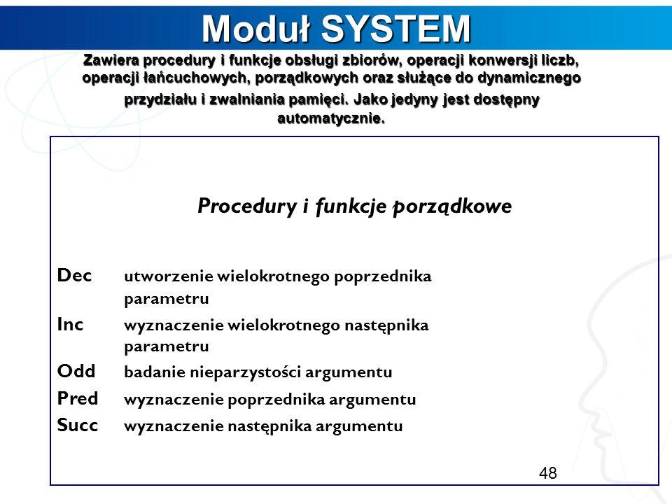 Procedury i funkcje porządkowe