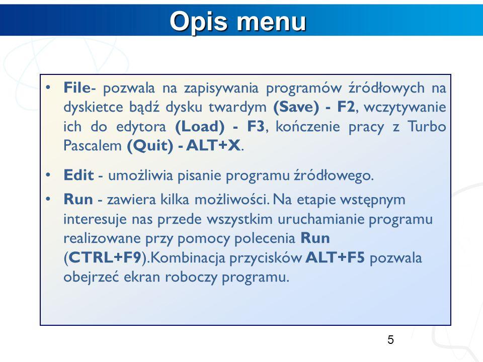 Opis menu