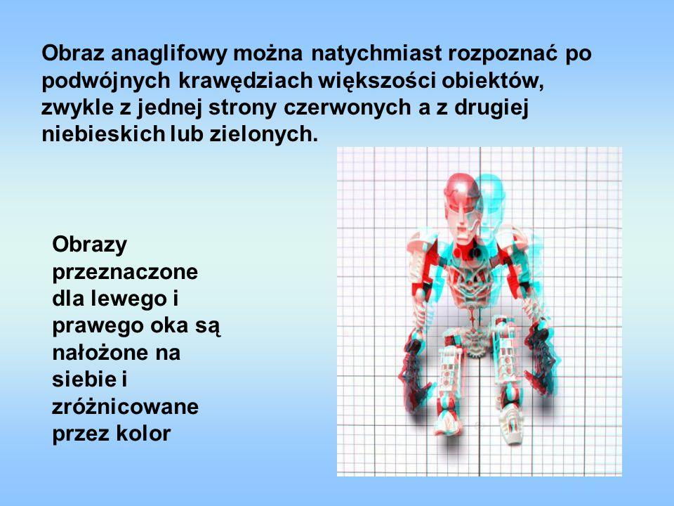 Obraz anaglifowy można natychmiast rozpoznać po podwójnych krawędziach większości obiektów, zwykle z jednej strony czerwonych a z drugiej niebieskich lub zielonych.