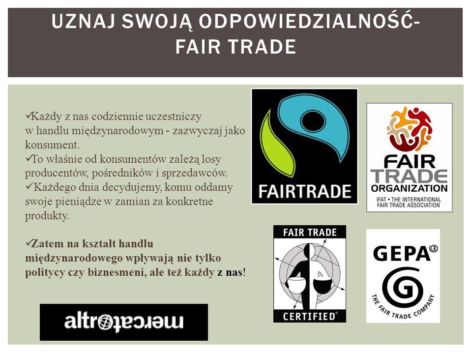 Uznaj swoją odpowiedzialność- fair trade