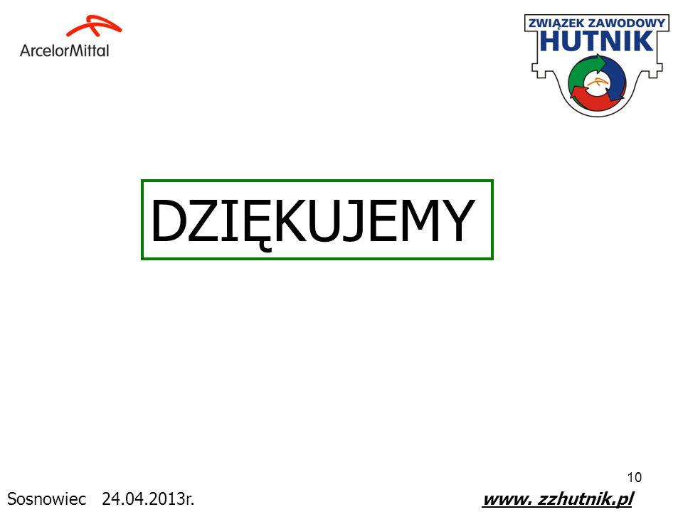 DZIĘKUJEMY Sosnowiec 24.04.2013r. www. zzhutnik.pl