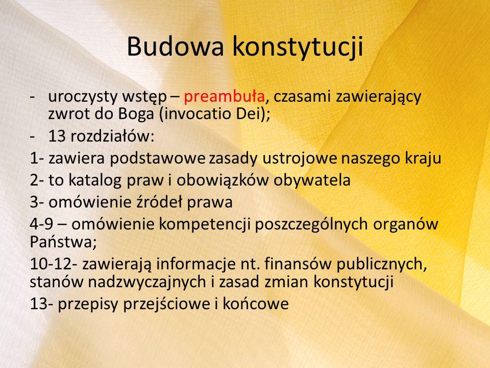 Budowa konstytucji uroczysty wstęp – preambuła, czasami zawierający zwrot do Boga (invocatio Dei); 13 rozdziałów: