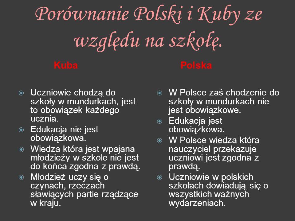 Porównanie Polski i Kuby ze względu na szkołę.