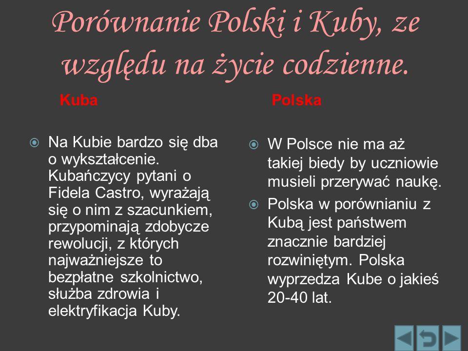 Porównanie Polski i Kuby, ze względu na życie codzienne.
