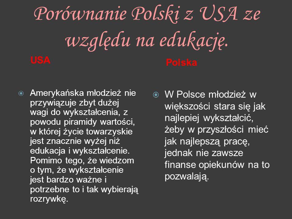 Porównanie Polski z USA ze względu na edukację.