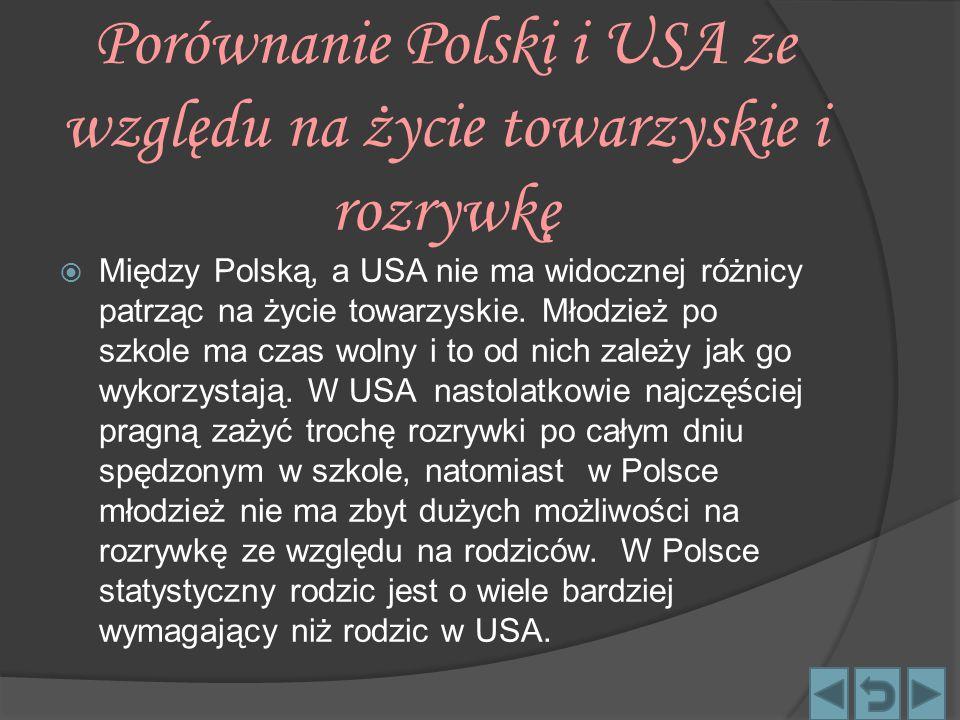 Porównanie Polski i USA ze względu na życie towarzyskie i rozrywkę