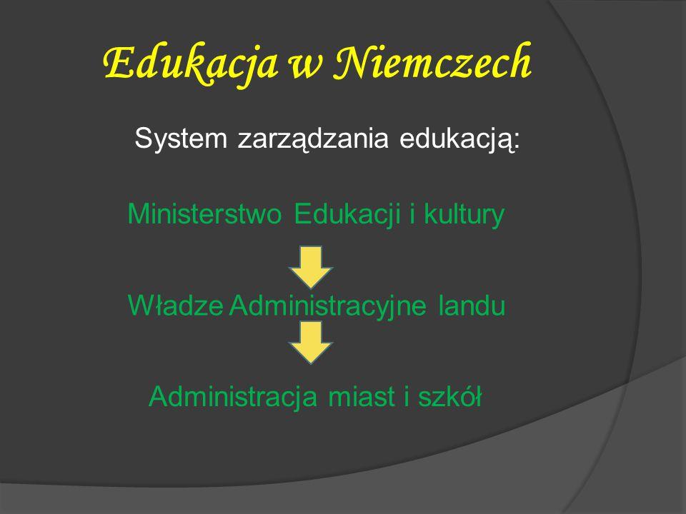 Edukacja w Niemczech System zarządzania edukacją: Ministerstwo Edukacji i kultury Władze Administracyjne landu.