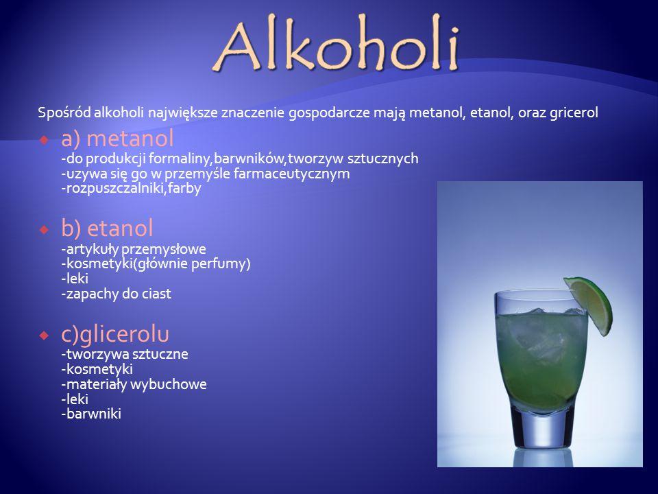 Zastosowania Alkoholi