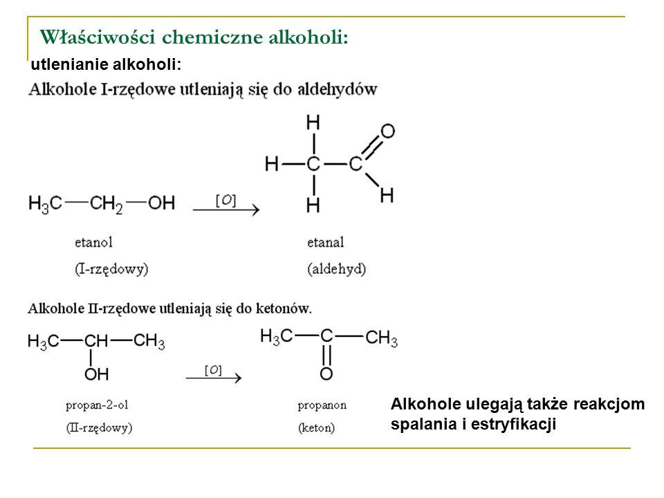 Właściwości chemiczne alkoholi:
