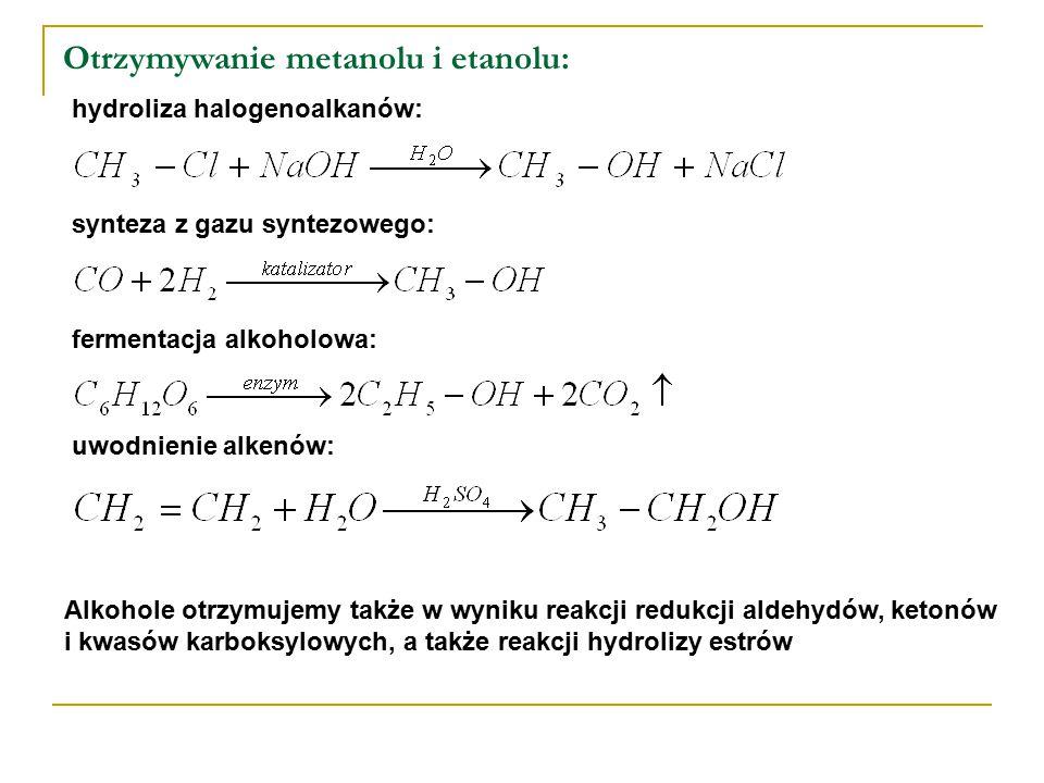 Otrzymywanie metanolu i etanolu: