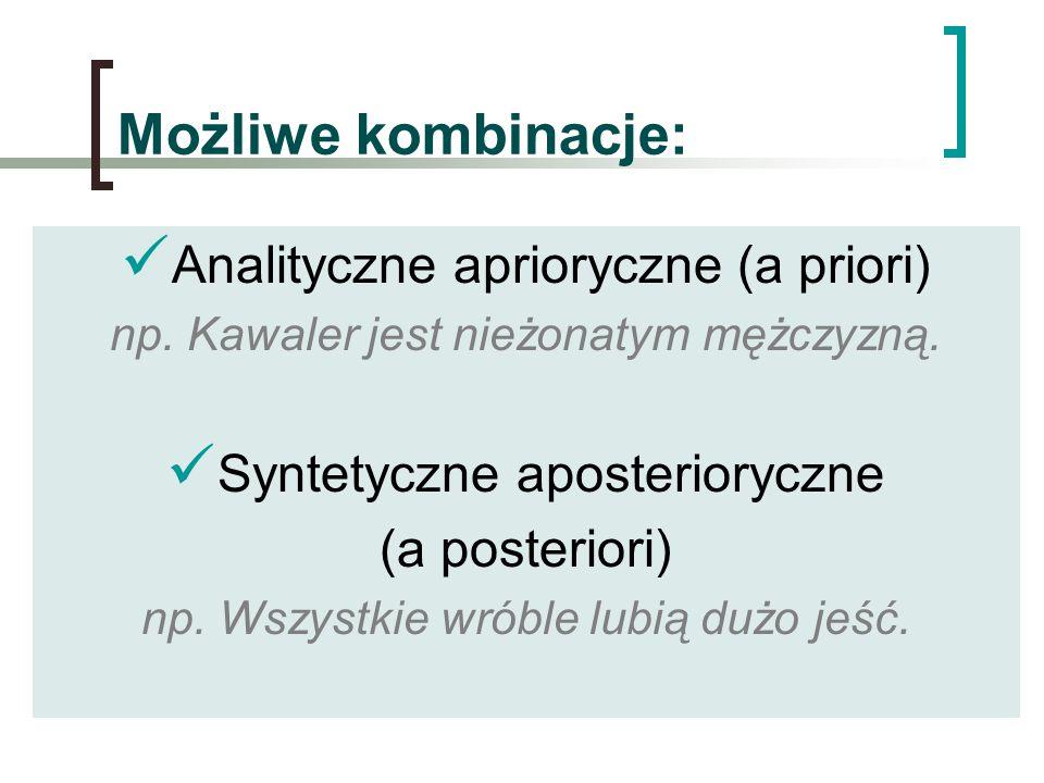 Możliwe kombinacje: Analityczne aprioryczne (a priori)