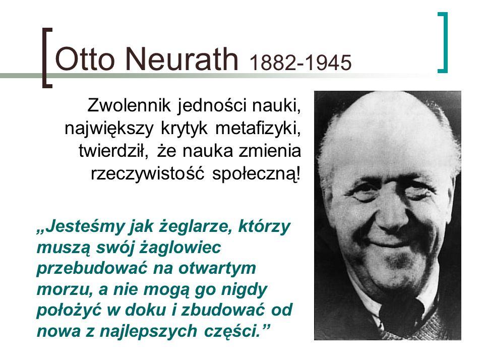 Otto Neurath 1882-1945 Zwolennik jedności nauki,