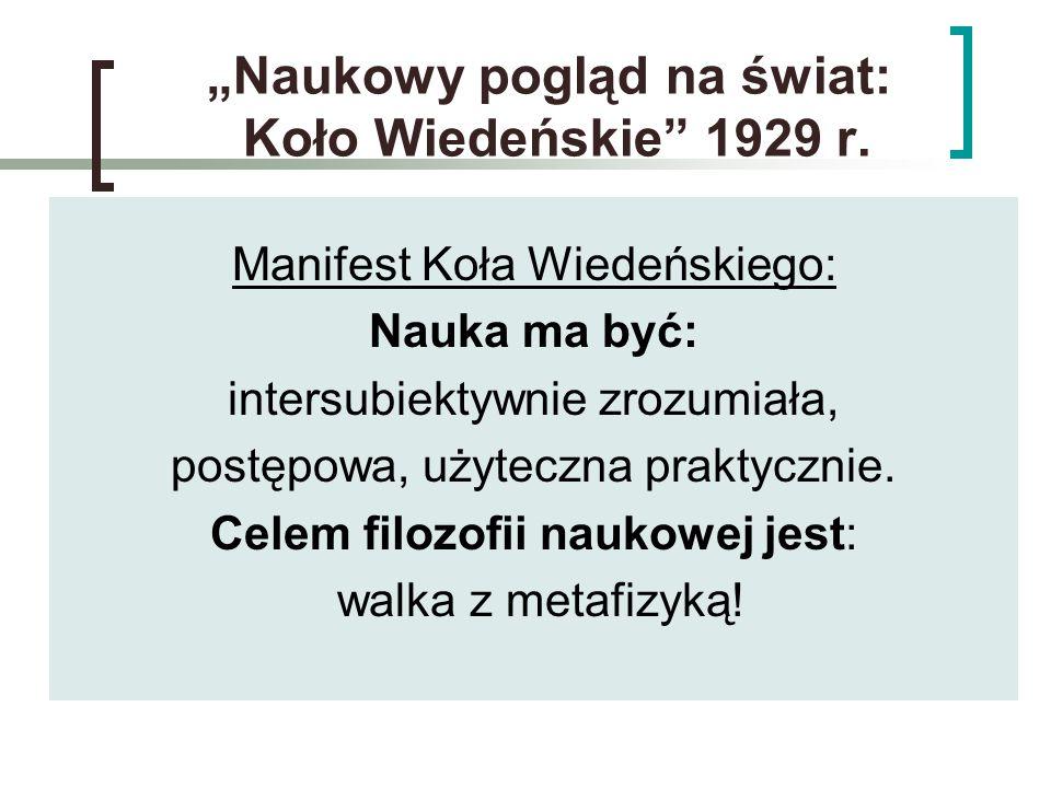 """""""Naukowy pogląd na świat: Koło Wiedeńskie 1929 r."""
