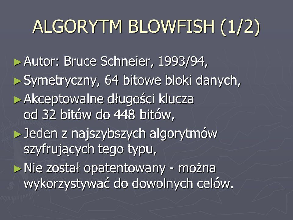 ALGORYTM BLOWFISH (1/2) Autor: Bruce Schneier, 1993/94,