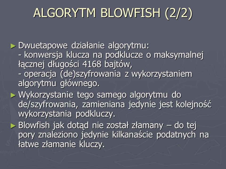 ALGORYTM BLOWFISH (2/2)