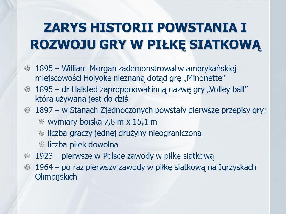 ZARYS HISTORII POWSTANIA I ROZWOJU GRY W PIŁKĘ SIATKOWĄ