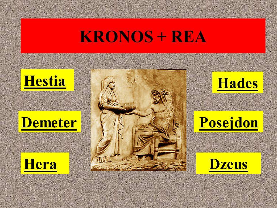 KRONOS + REA Hestia Hades Demeter Posejdon Hera Dzeus