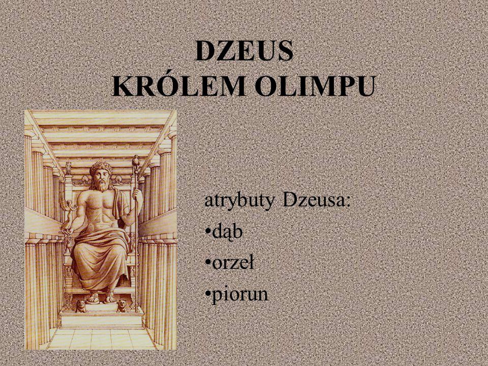 atrybuty Dzeusa: dąb orzeł piorun