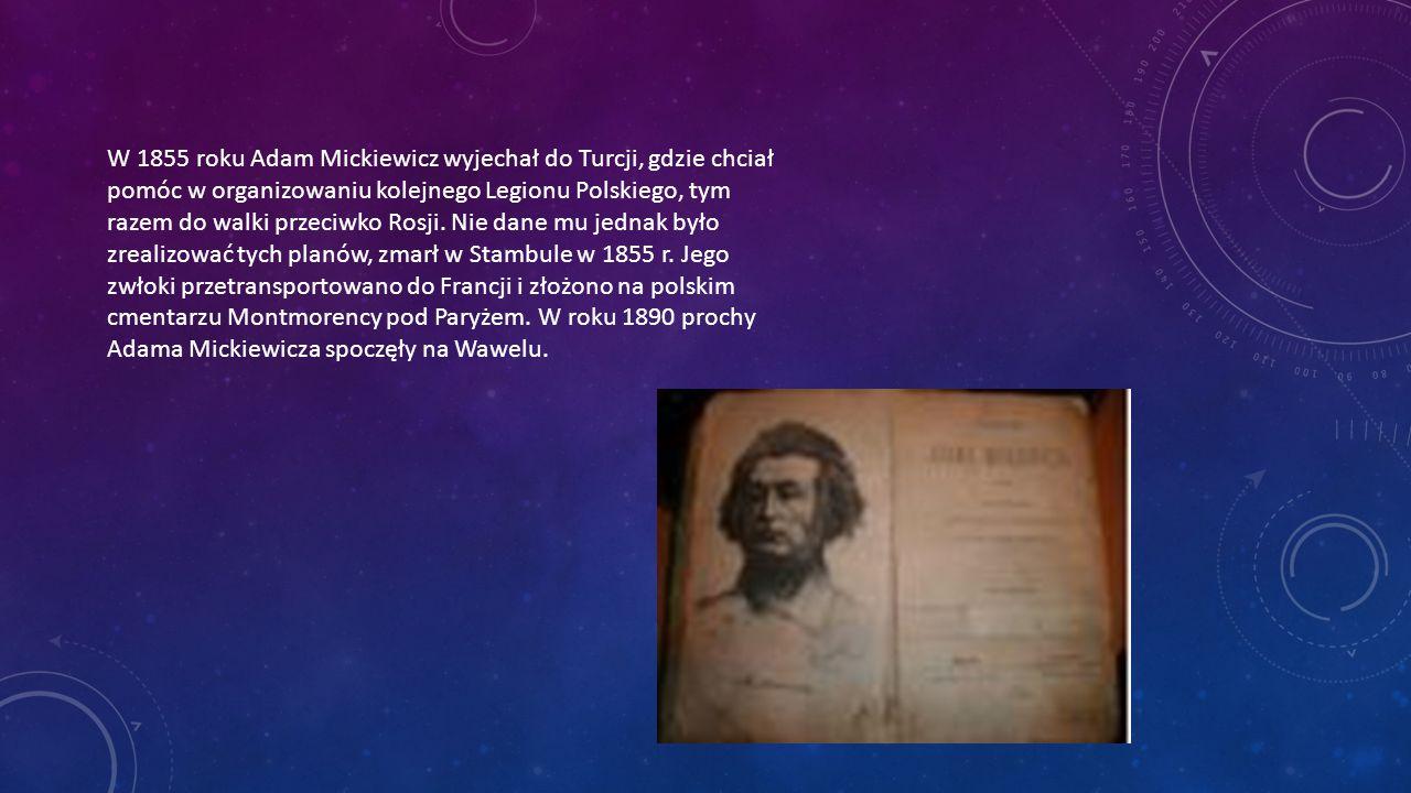 W 1855 roku Adam Mickiewicz wyjechał do Turcji, gdzie chciał pomóc w organizowaniu kolejnego Legionu Polskiego, tym razem do walki przeciwko Rosji.