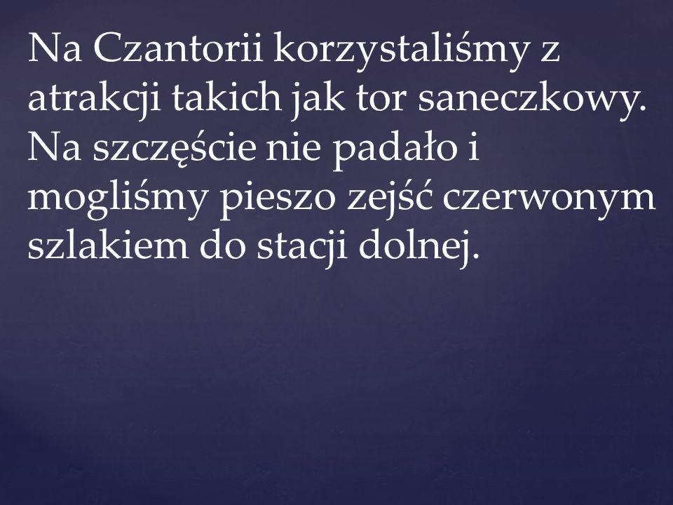 Na Czantorii korzystaliśmy z atrakcji takich jak tor saneczkowy