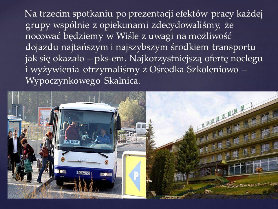 Na trzecim spotkaniu po prezentacji efektów pracy każdej grupy wspólnie z opiekunami zdecydowaliśmy, że nocować będziemy w Wiśle z uwagi na możliwość dojazdu najtańszym i najszybszym środkiem transportu jak się okazało – pks-em.