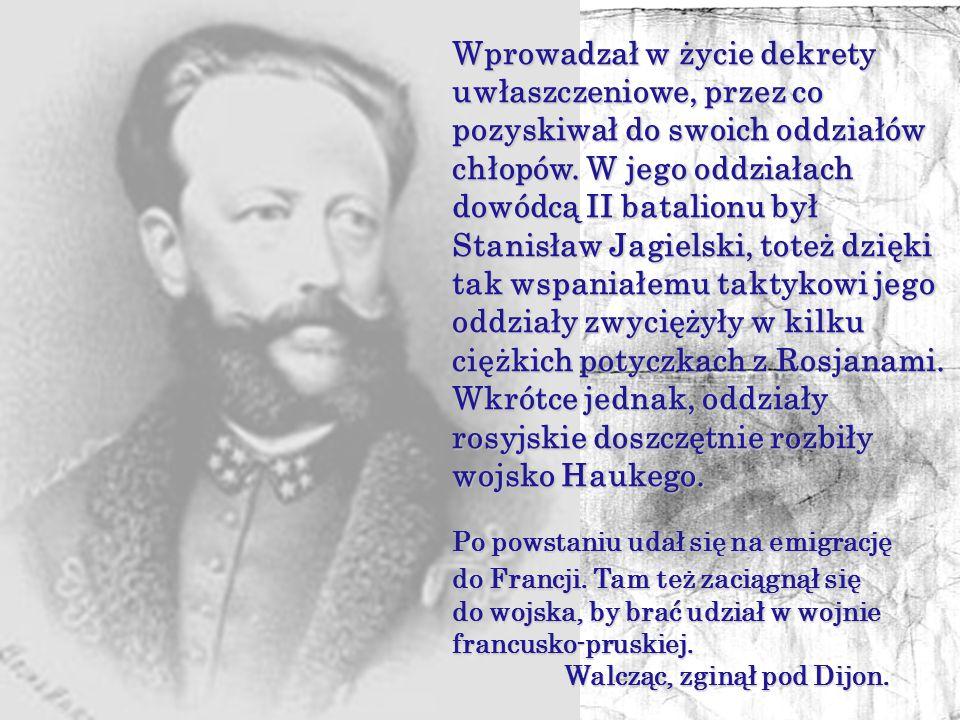 Wprowadzał w życie dekrety uwłaszczeniowe, przez co pozyskiwał do swoich oddziałów chłopów. W jego oddziałach dowódcą II batalionu był Stanisław Jagielski, toteż dzięki tak wspaniałemu taktykowi jego oddziały zwyciężyły w kilku ciężkich potyczkach z Rosjanami. Wkrótce jednak, oddziały rosyjskie doszczętnie rozbiły wojsko Haukego.