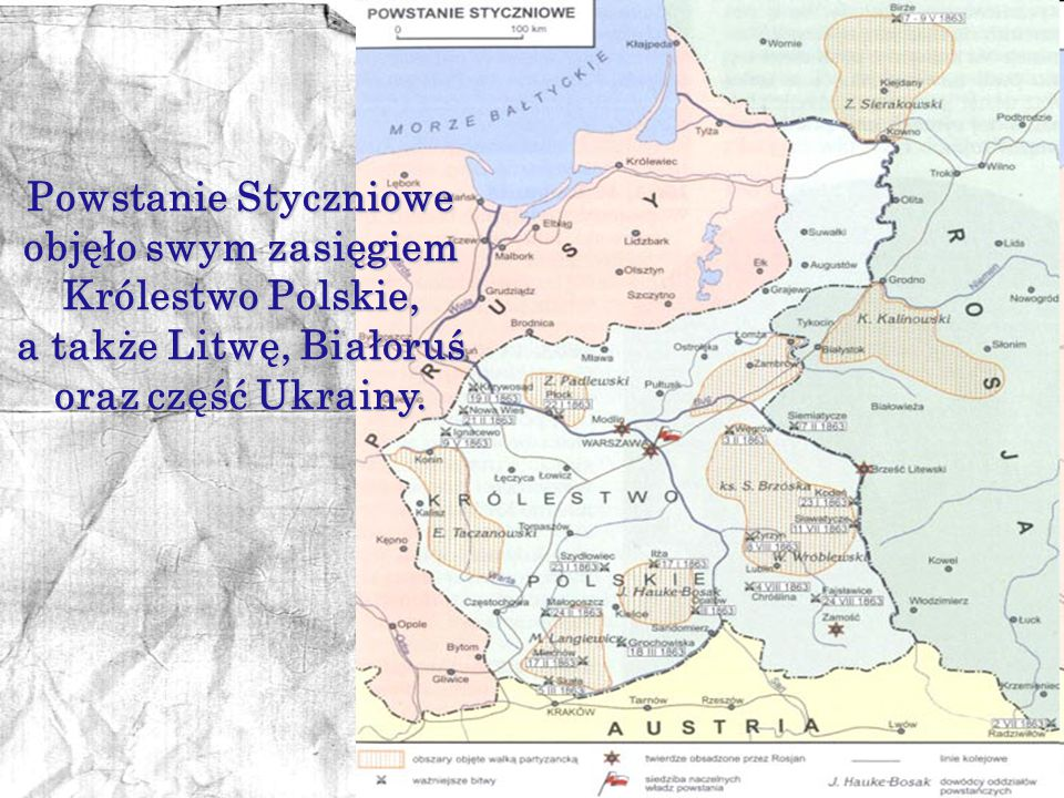 Powstanie Styczniowe objęło swym zasięgiem Królestwo Polskie,
