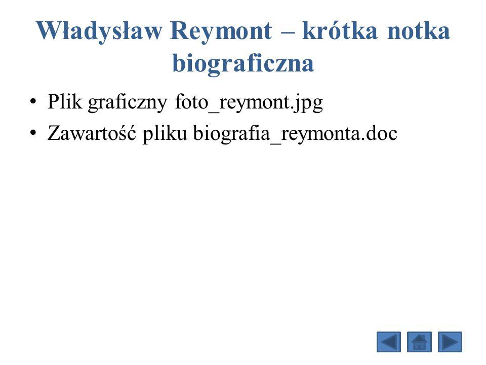 Władysław Reymont – krótka notka biograficzna