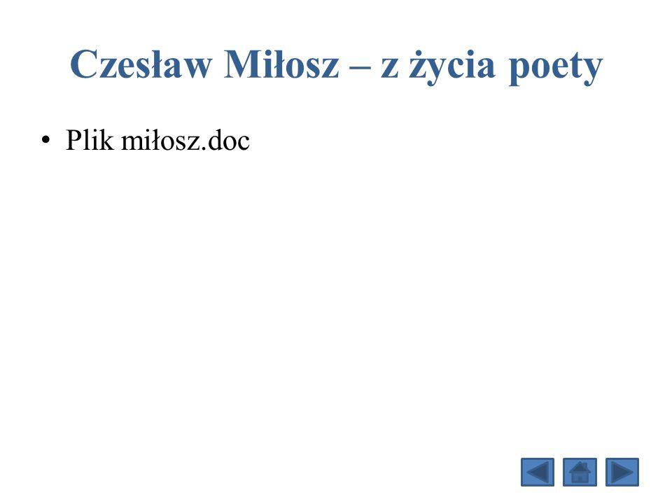 Czesław Miłosz – z życia poety