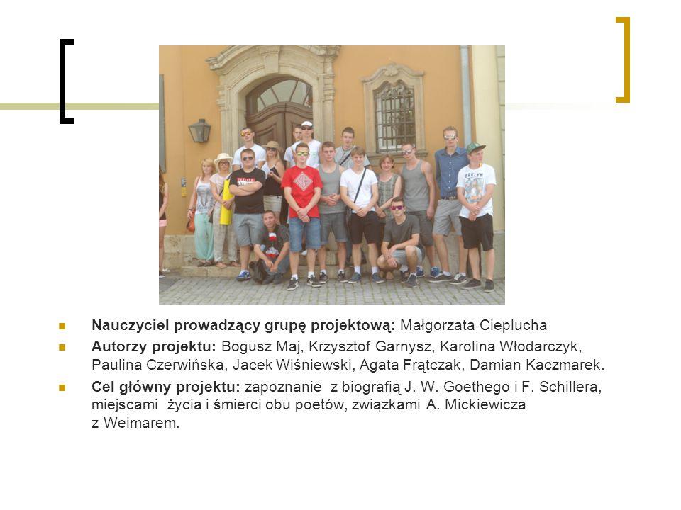 Nauczyciel prowadzący grupę projektową: Małgorzata Cieplucha