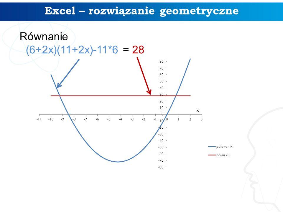 Excel – rozwiązanie geometryczne