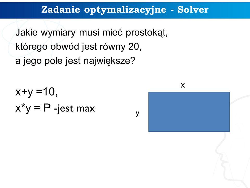 Zadanie optymalizacyjne - Solver