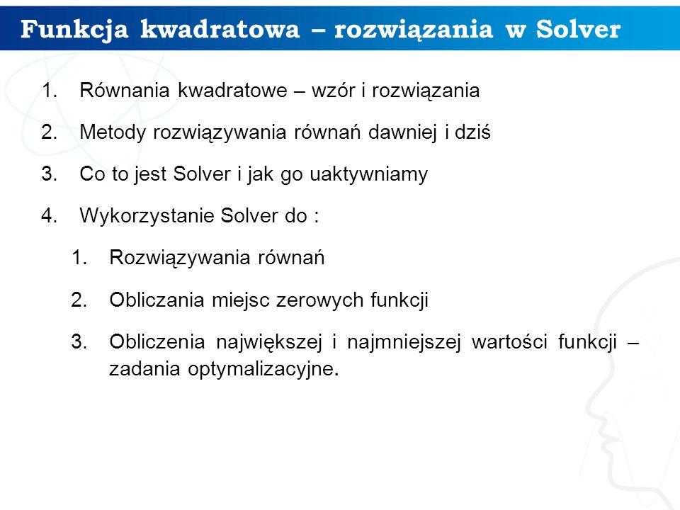 Funkcja kwadratowa – rozwiązania w Solver