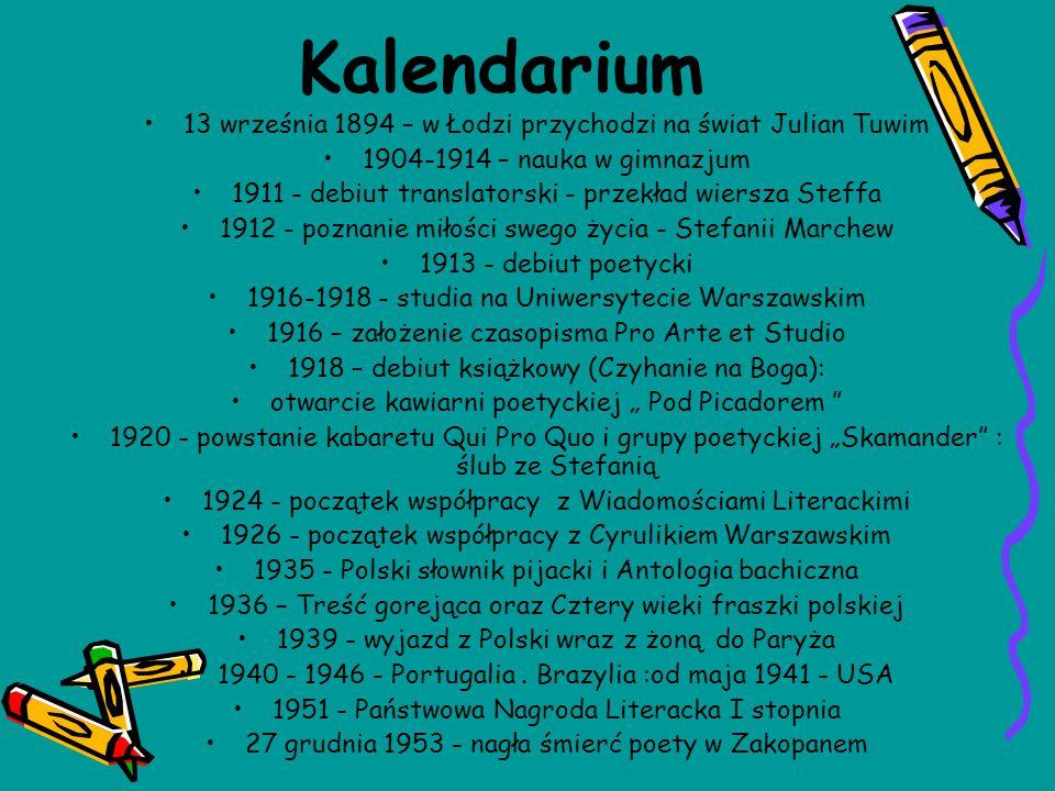 Kalendarium 13 września 1894 – w Łodzi przychodzi na świat Julian Tuwim. 1904-1914 – nauka w gimnazjum.