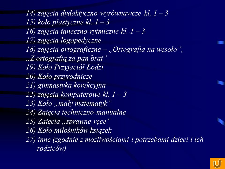 14) zajęcia dydaktyczno-wyrównawcze kl. 1 – 3