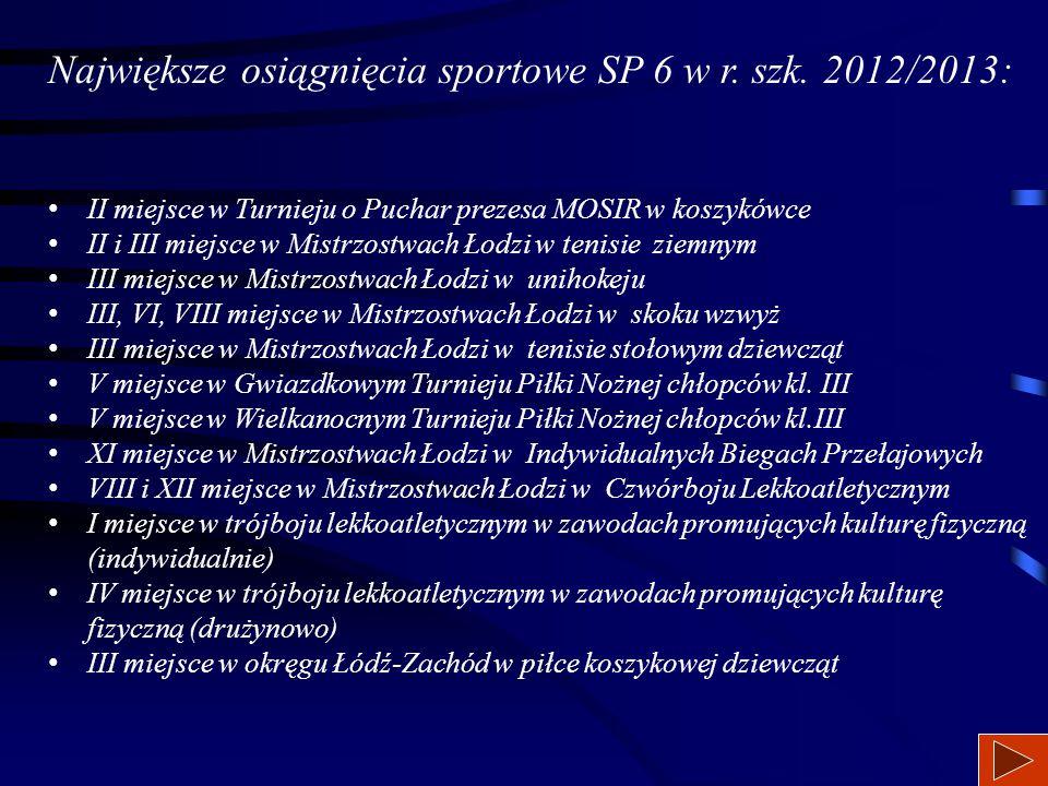 Największe osiągnięcia sportowe SP 6 w r. szk. 2012/2013: