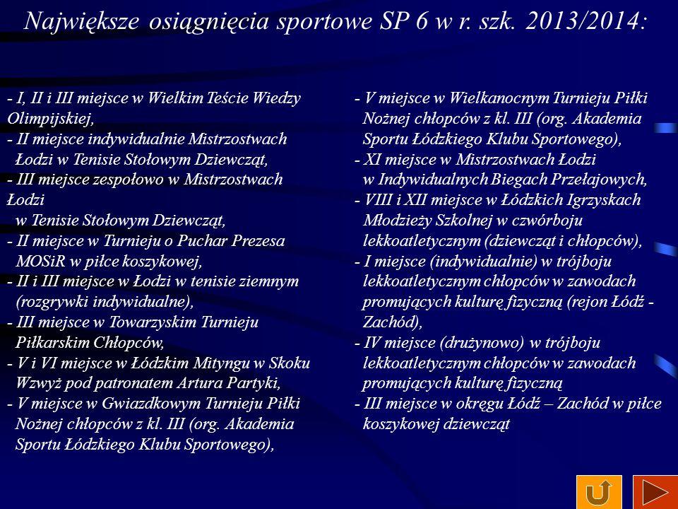 Największe osiągnięcia sportowe SP 6 w r. szk. 2013/2014: