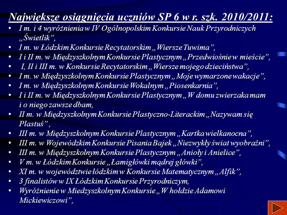 Największe osiągnięcia uczniów SP 6 w r. szk. 2010/2011: