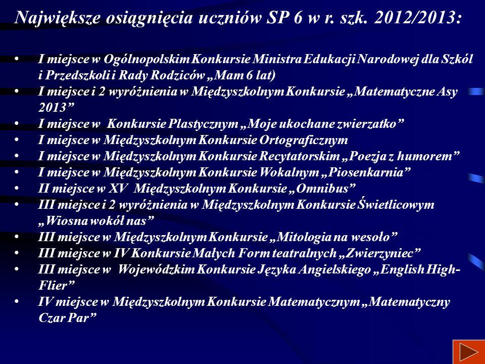 Największe osiągnięcia uczniów SP 6 w r. szk. 2012/2013: