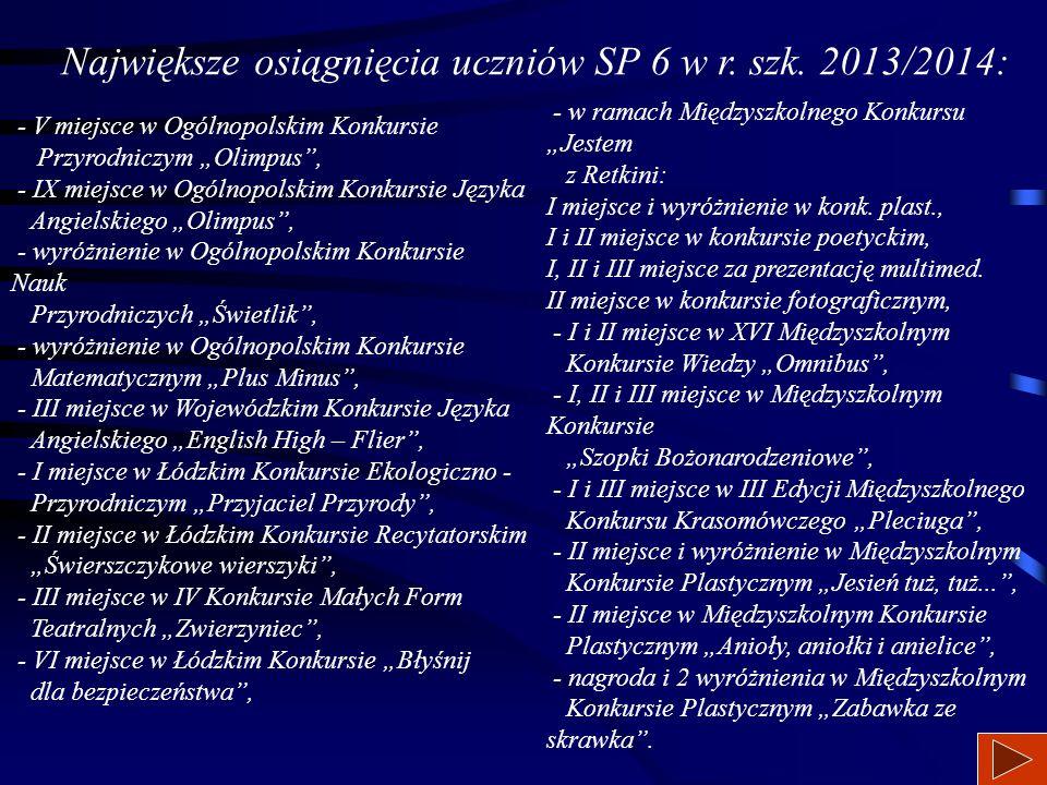 Największe osiągnięcia uczniów SP 6 w r. szk. 2013/2014: