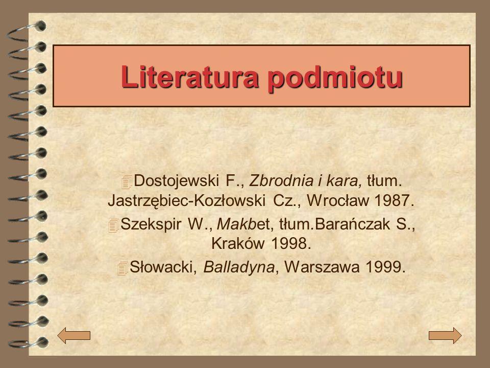 Literatura podmiotu Dostojewski F., Zbrodnia i kara, tłum. Jastrzębiec-Kozłowski Cz., Wrocław 1987.