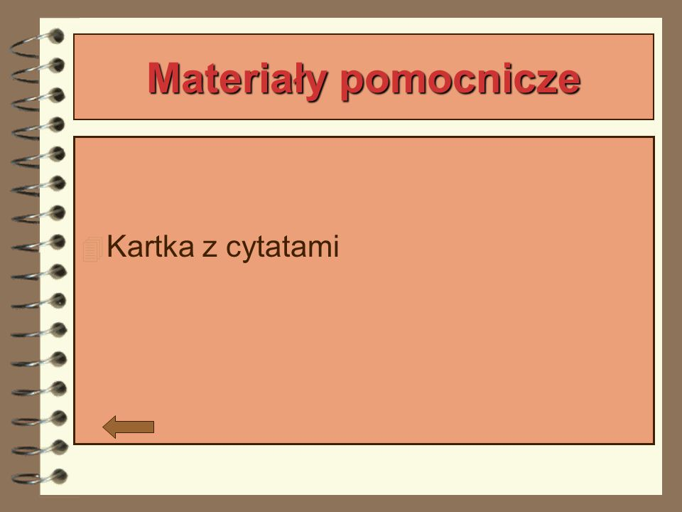 Materiały pomocnicze Kartka z cytatami